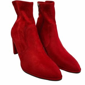 Marc Fisher Red Suede Ankle Heel Boots Size 5 1/2